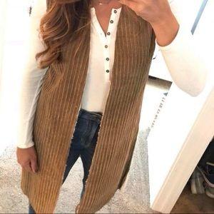 SHERPA lined khaki wide wale corduroy long vest